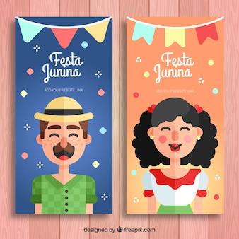 Bannières de fête avec des personnages en conception plate