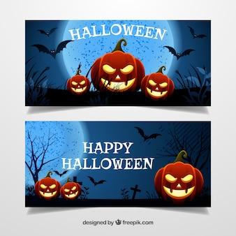 Bannières de Halloween avec des citrouilles allumées