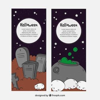 Bannières de Halloween avec style dessiné à la main