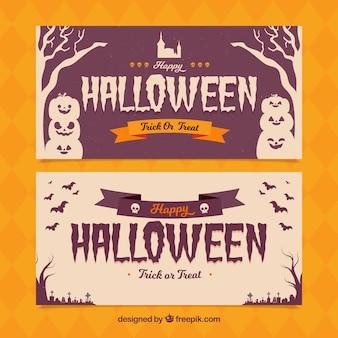 Bannières de Halloween avec un style élégant