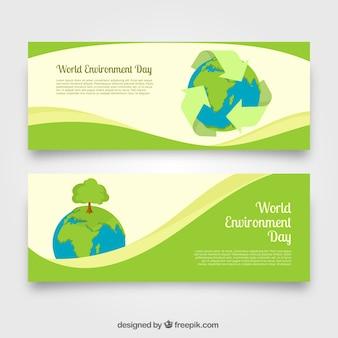 Bannières de jour de l'environnement mondial avec des formes ondulées