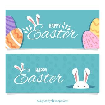 Bannières de jour de Pâques dans la conception vintage