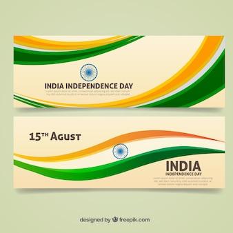 Bannières de l'Inde avec des vagues de couleur