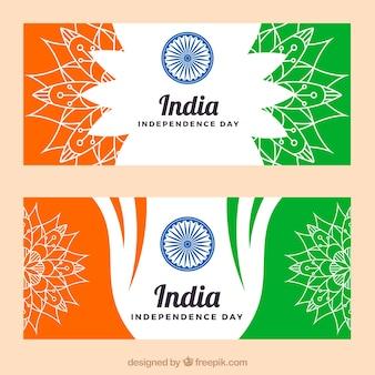 Bannières de l'indépendance de l'Inde avec des croquis de mandalas