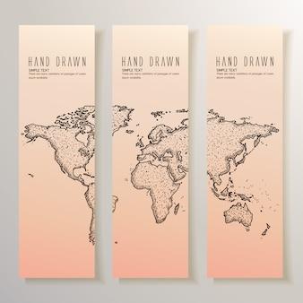Bannières de la carte du monde dessinées à la main