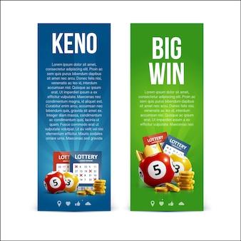 Bannières de loterie avec des billets réalistes