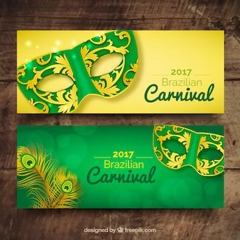 Bannières de masques de carnaval ornementales