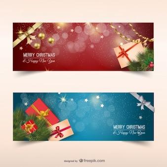 Bannières de Noël avec des cadeaux