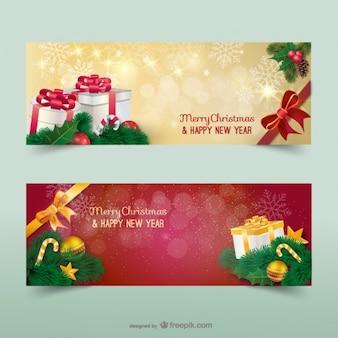 Bannières de Noël avec des étincelles