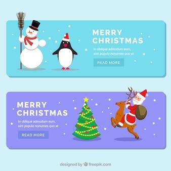 Bannières de Noël avec le père noël et un bonhomme de neige