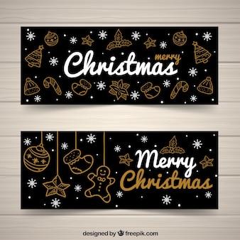 Bannières de Noël élégantes avec des croquis dorés