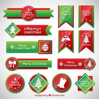 Bannières de Noël en rouge un couleurs vertes