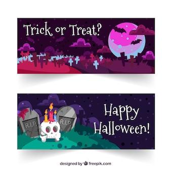 Bannières de paysage d'Halloween