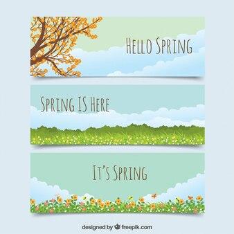 Bannières de paysages de printemps