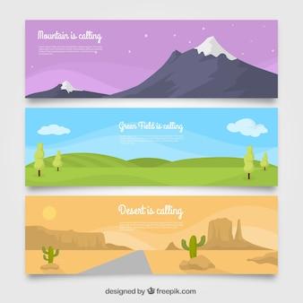 Bannières de paysages différents