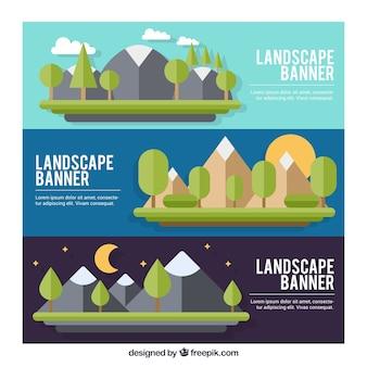 Bannières de paysages en design plat montagneuse
