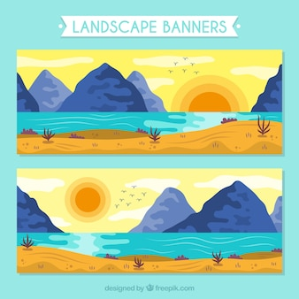 Bannières de paysages ensoleillés avec des montagnes