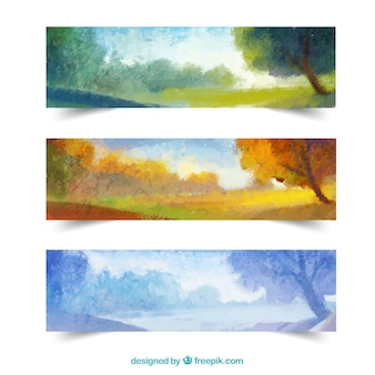 Bannières de paysages saisonniers