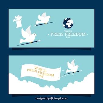 Bannières de presse gratuites avec des pigeons