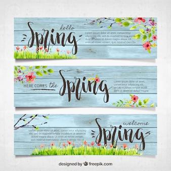 Bannières de printemps Vintage