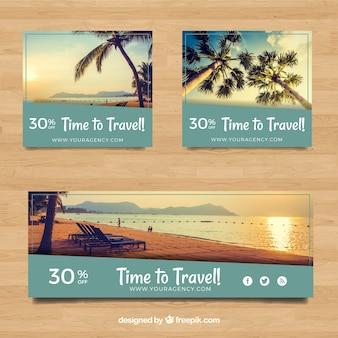 Bannières de réduction pour les vacances d'été