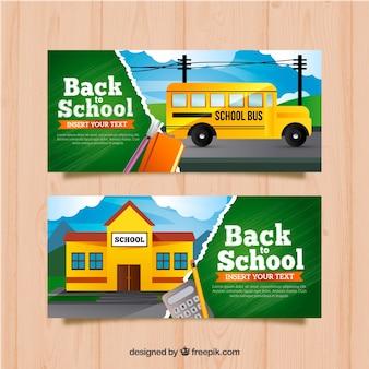 Bannières de retour à l'école avec bus et bâtiment