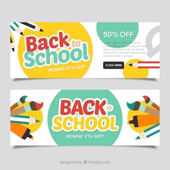 Bannières de retour à l'école avec du matériel