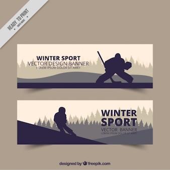 Bannières de sports d'hiver avec des silhouettes