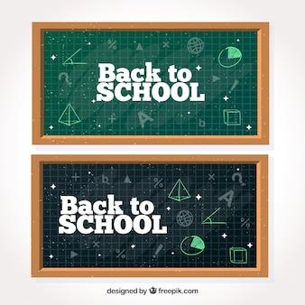 Bannières de tableau noir avec des dessins mathématiques