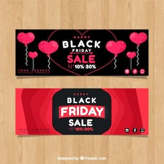 Bannières de vendredi noir avec design coeurs
