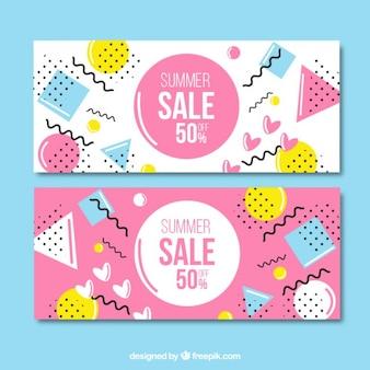 bannières de vente rose et blanc dans le style memphis