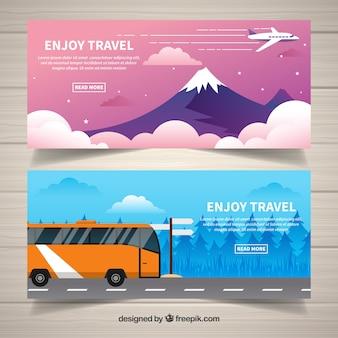 Bannières de voyage avec de beaux paysages