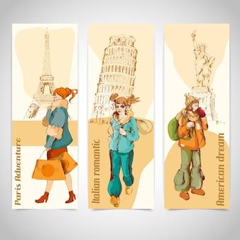 Bannières de voyage dans le style rétro