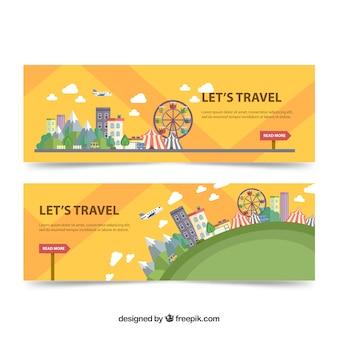 Bannières de voyage en conception plate
