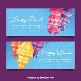 Bannières décalées en diwali en conception plate