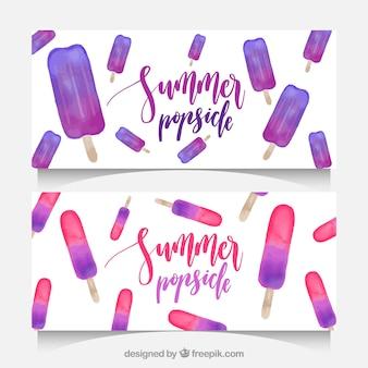 Bannières décoratives avec des glaces aux aquarelles pour l'été