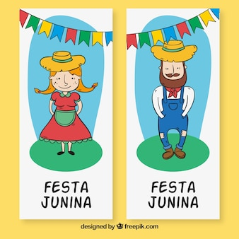 Bannières des personnages de festa junina