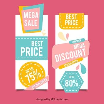 Bannières discount avec des couleurs pastel