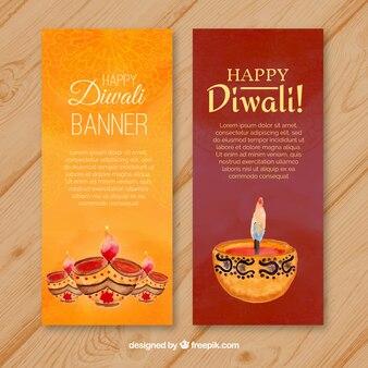 Bannières Diwali avec des bougies aquarelles