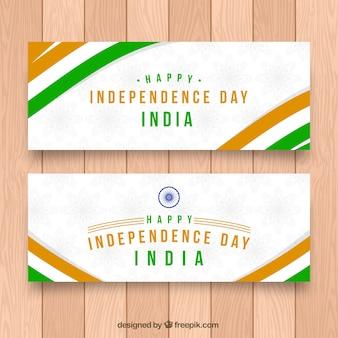 Bannières du jour de l'indépendance indienne avec des rayures