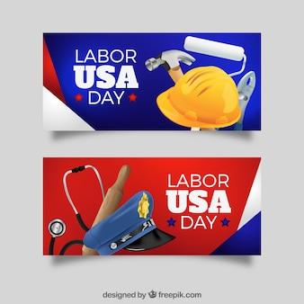 Bannières du jour du travail aux États-Unis avec des éléments
