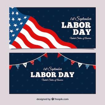 Bannières du jour du travail avec drapeau américain