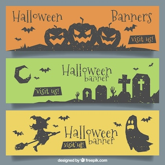 Bannières élégantes d'Halloween avec un style moderne