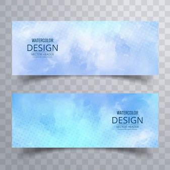 Bannières en aquarelle bleue