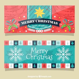 Bannières fantastiques avec des éléments de Noël