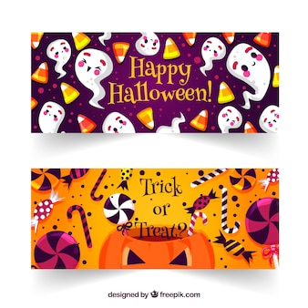 Bannières fantômes et bonbons d'halloween