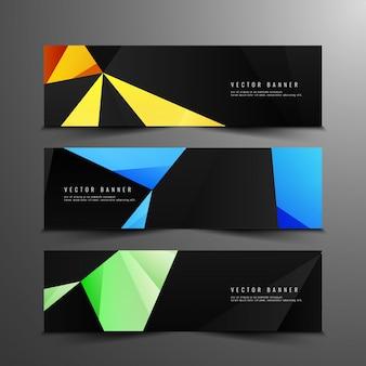 Bannières géométriques abstraites et colorées