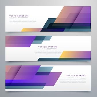 Bannières géométriques placées dans des nuances de couleurs violet élégantes