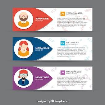 Bannières infographiques avec des personnages décoratifs