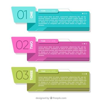 Bannières infographiques de couleur avec la conception géométrique